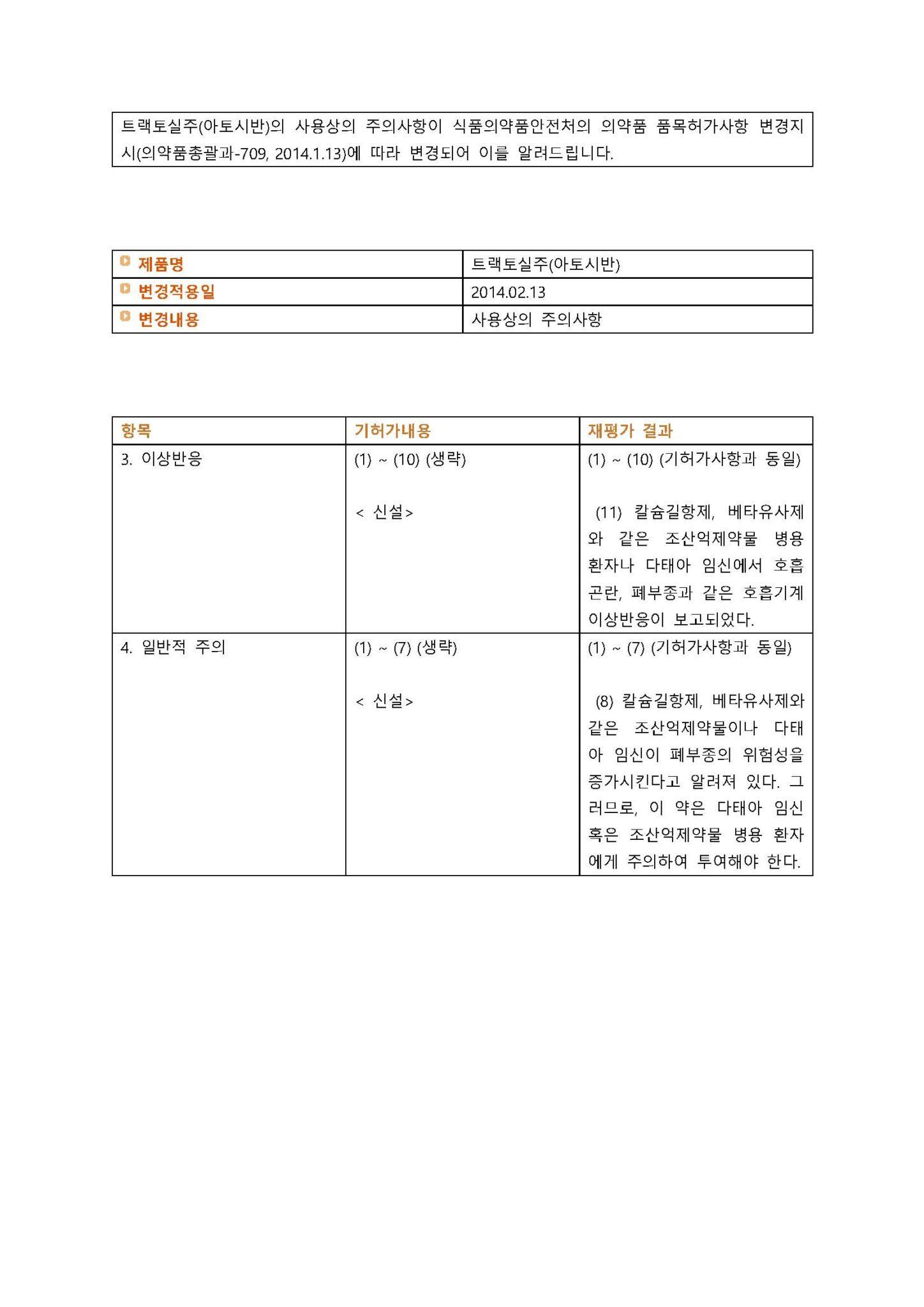 트랙토실주(아토시반) 변경일 2014.02.13